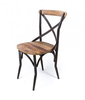 Chaise bistrot de style Vintage industrielle métal et Vieux Bois