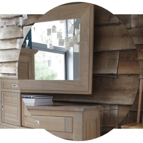Miroir contemporain chêne massif pour buffet 4 portes MILANO