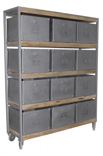 Casier sur roues à 12 rangements de style industriel en manguier et métal