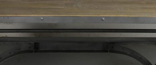 Grande table de repas relevable à manivelle de style industriel en manguier et métal 240x100 cm