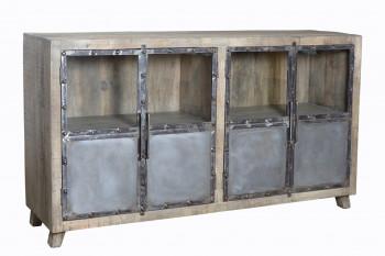 Buffet 180cm de style industriel en metal & manguier massif