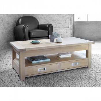 Table Basse rectangulaire contemporaine chêne massif 2 tiroirs MILANO