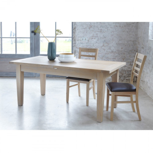 Table rectangulaire extensible 160 contemporaine chêne massif MILANO
