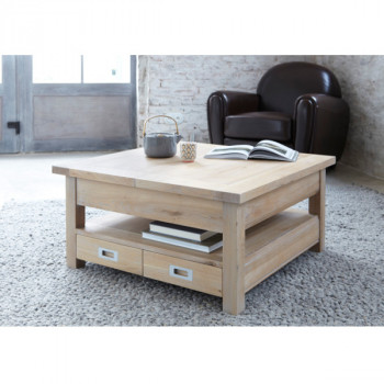 Table Basse carrée extensible contemporaine chêne massif 4 tiroirs MILANO
