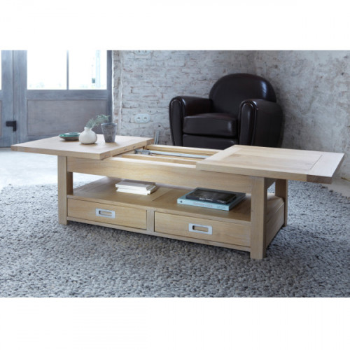 Table Basse rectangulaire extensible contemporaine chêne massif 2 tiroirs MILANO