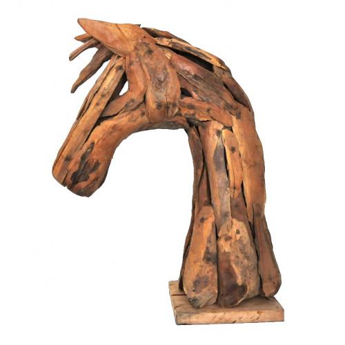Buste ou tête de Cheval en bois flotté