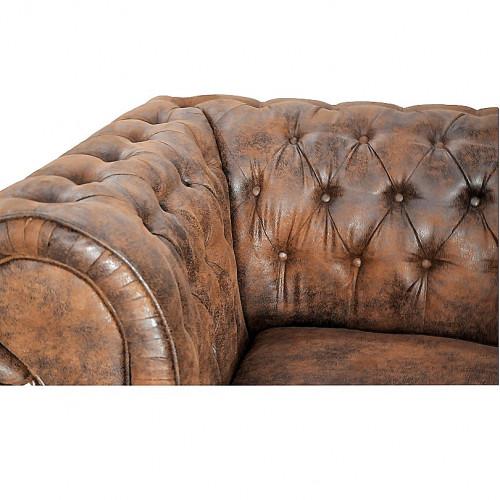Canapé 3 places de type chesterfield en tissu microfibre façon cuir vieilli