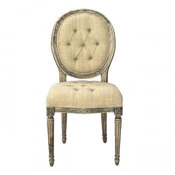 Chaise Apolline de style Louis XVI à dossier médaillon capitonnée toile de jute
