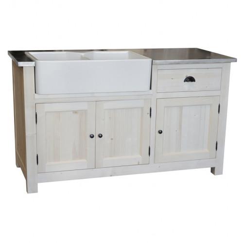 Meuble de cuisine ROMANE avec double Evier intégré - 155x65x90 cm