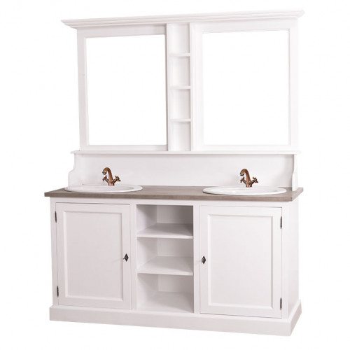 Ensemble de meubles de salle de bains double vasques et miroir