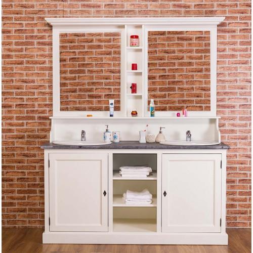 Miroirs double de salle de bains avec étagères