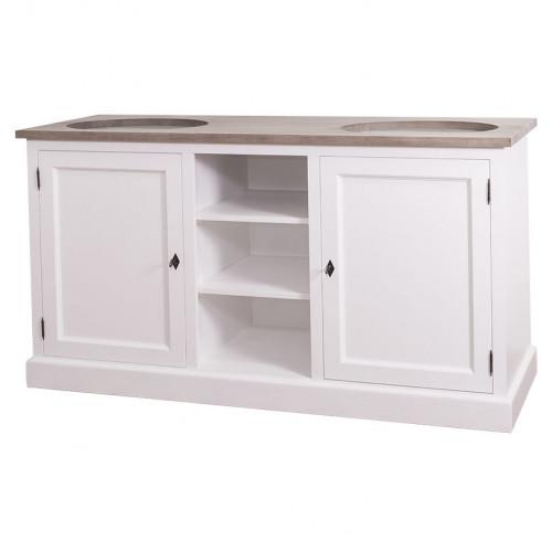 Meuble double vasque avec placards et étagères
