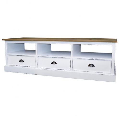 Meuble TV ouvrant à 3 tiroirs et 3 niches