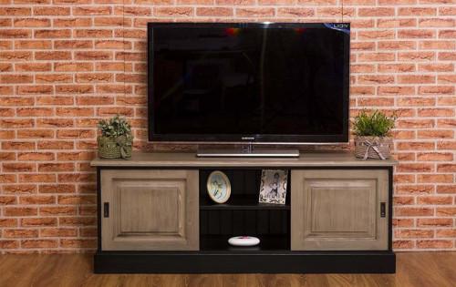Meuble TV 2 portes coulissantes et 1 niche