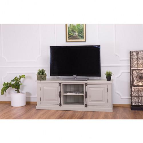 Meuble TV en bois massif ROMANE - 160x46x60 cm