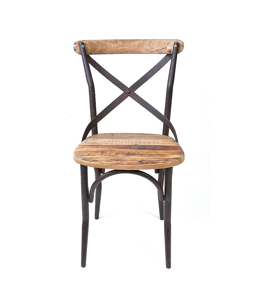 chaise bistrot de style vintage industrielle m tal et vieux bois le d p t des docks. Black Bedroom Furniture Sets. Home Design Ideas
