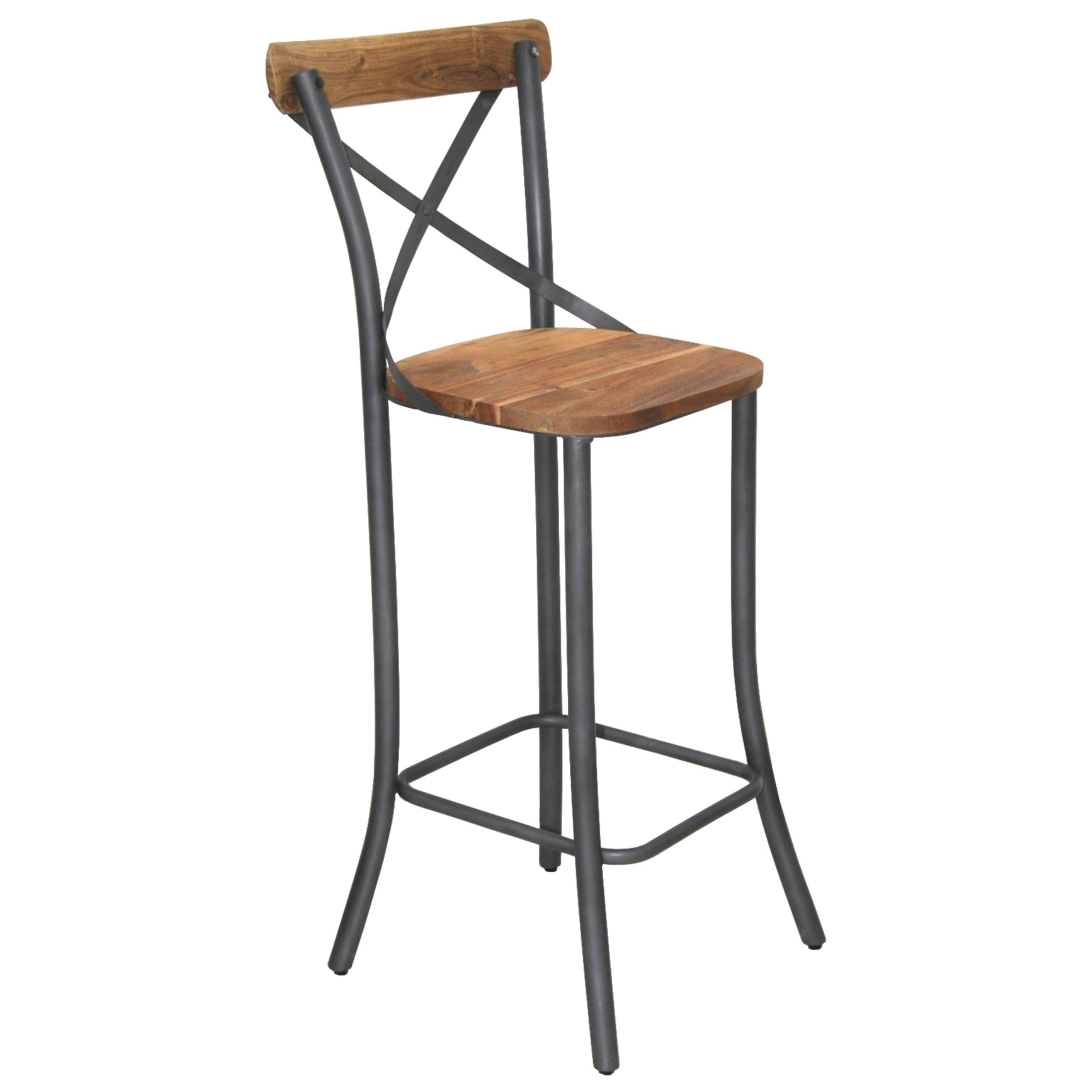 tabouret de bar bistrot de style industriel en m tal et bois le d p t des docks. Black Bedroom Furniture Sets. Home Design Ideas