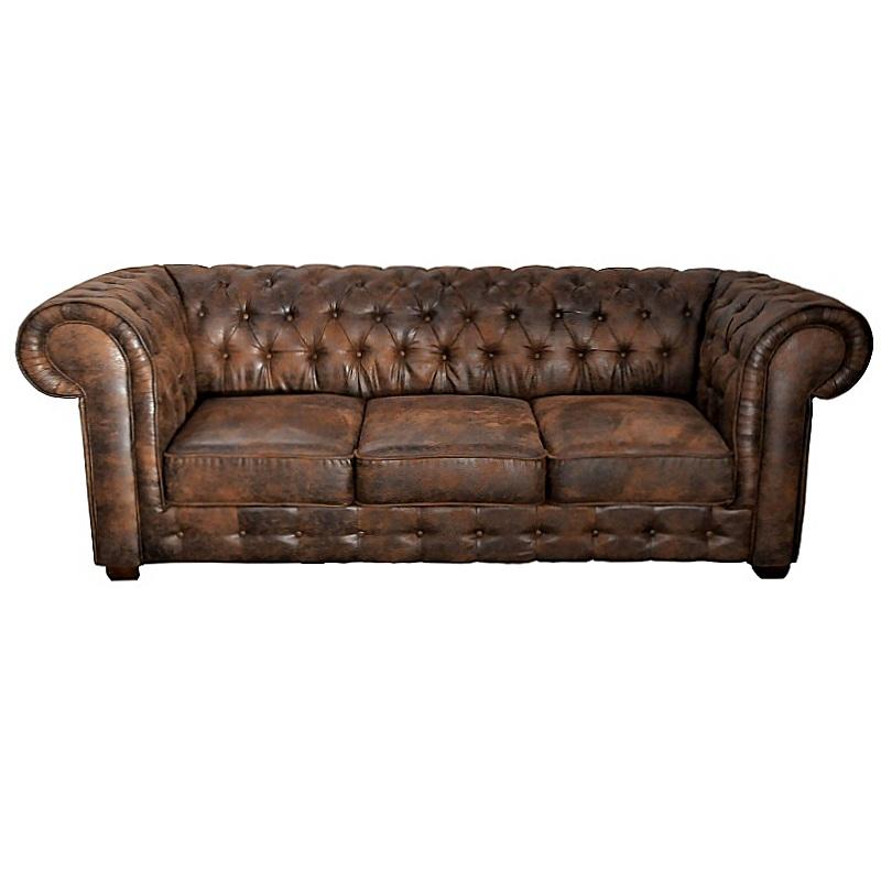 canap 3 places de type chesterfield en tissu microfibre fa on cuir vieilli le d p t des docks. Black Bedroom Furniture Sets. Home Design Ideas