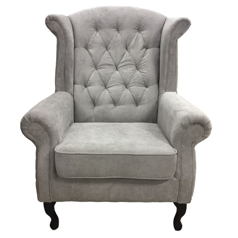 fauteuil anfield de type berg re oreilles capitonn style chesterfield en tissu microfibre. Black Bedroom Furniture Sets. Home Design Ideas