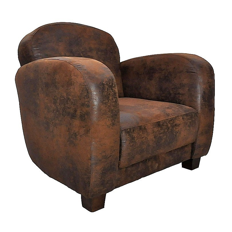 fauteuil club vintage texas en microfibre imitation cuir vieilli le d p t des docks. Black Bedroom Furniture Sets. Home Design Ideas