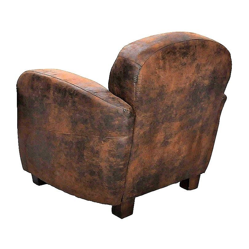 Fauteuil Club Vintage TEXAS en microfibre imitation cuir vieilli
