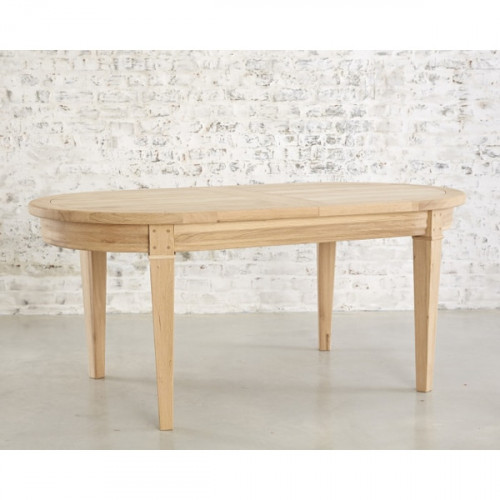 Table de Repas ovale contemporaine TORONTO + 2 allonges portefeuille de 40cm