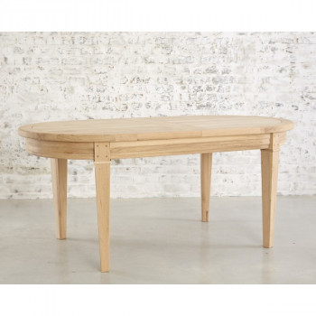 Table de repas ovale DUBLIN + 2 allonges portefeuille de 40cm