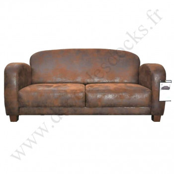 Canapé Club JAZZ 2 places imitation cuir vieilli