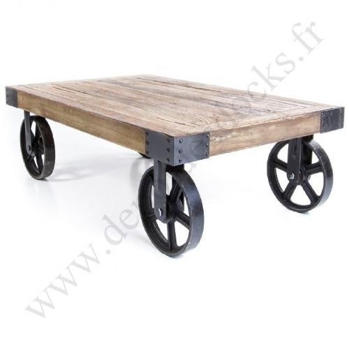 Table Basse Vintage industrielle Métal & Vieux Bois avec roues