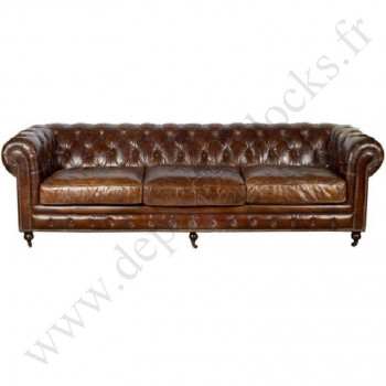 Grand Canapé CHESTERFIELD en cuir vieilli