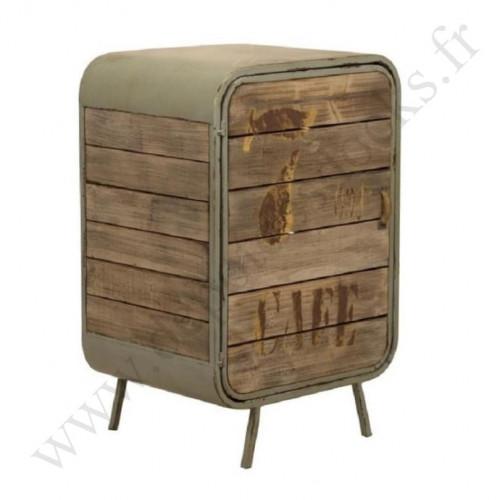 Meuble de rangement ouvrant à 1 porte de style vintage industriel en métal et vieux bois