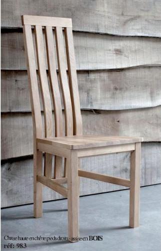 Grande Chaise contemporaine assise bois chêne massif MILANO
