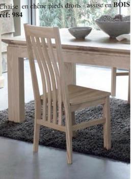 Chaise contemporaine assise bois chêne massif MILANO