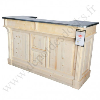 Bar comptoir en pin massif 180 cm plateau zinc
