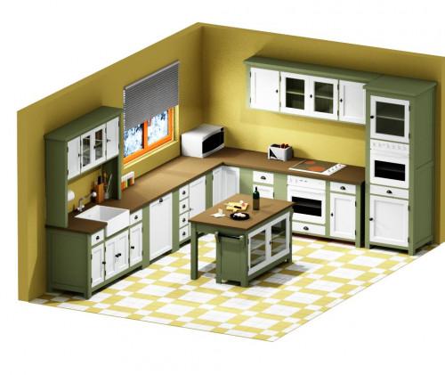 projet 3d de cuisine le d p t des docks. Black Bedroom Furniture Sets. Home Design Ideas
