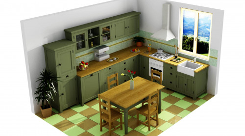 Projet 3D de cuisine complète avec table à manger