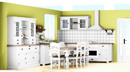 Projet 3D de cuisine avec buffet et salle à manger