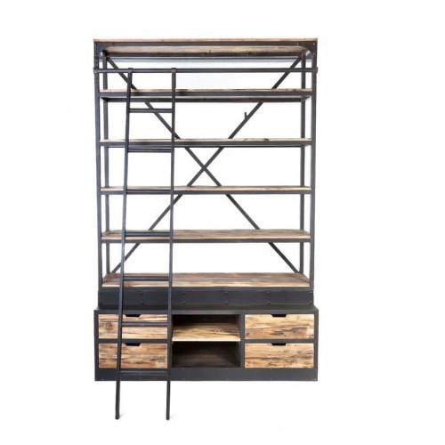 Grande Etagère Vintage industrielle métal & Vieux Bois - 160x45x243 cm