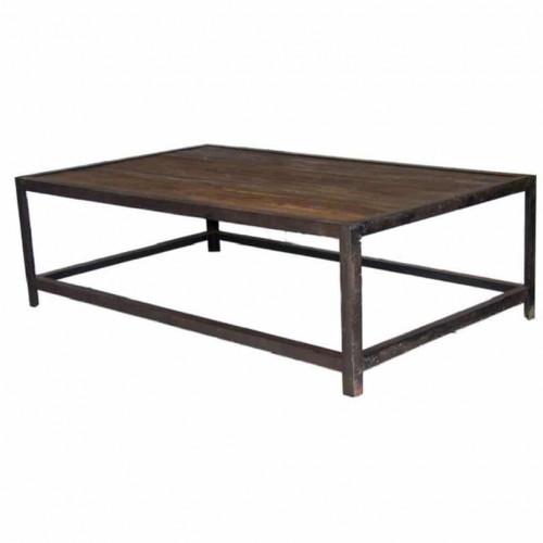 Table Basse Vintage industrielle métal & Vieux Bois - 140x85x43 cm