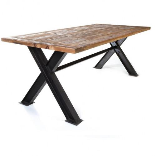 Table de repas 2m50 Vintage industrielle métal & Vieux Bois