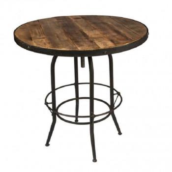 Table Haute de Bar Mange Debout Vintage industriel métal & Vieux Bois réglable Ø90 cm