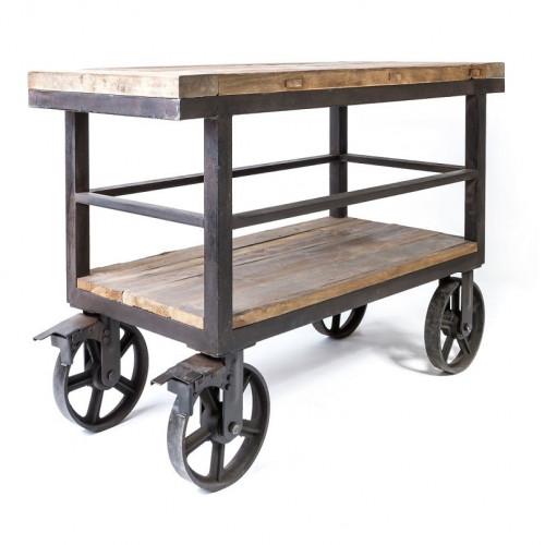 Desserte sur roues Vintage industrielle métal & Vieux Bois - 120x50x82 cm