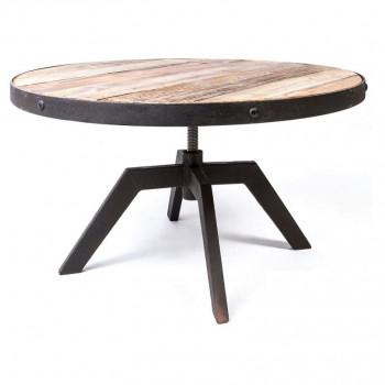 Table Basse ronde Vintage industrielle métal & Vieux Bois réglable