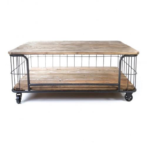 Table Basse Cage Vintage industrielle métal & Vieux Bois