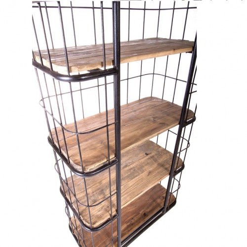 etag re cage vintage industrielle m tal vieux bois le d p t des docks. Black Bedroom Furniture Sets. Home Design Ideas
