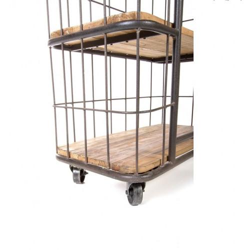 Etagère cage Vintage industrielle métal & Vieux Bois