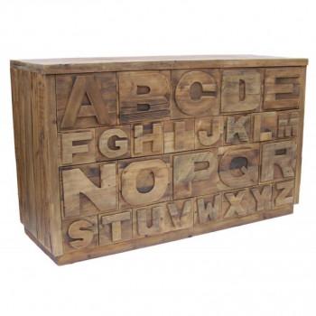 Commode Alphabet Vintage industrielle Vieux Bois