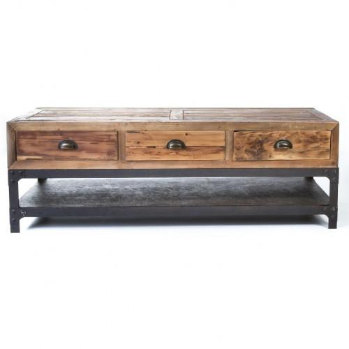 Meuble TV vintage industriel métal & vieux bois ouvrant à 3 tiroirs