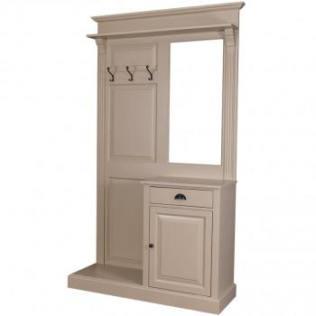 Vestiaire Porte-manteau avec miroir 1 porte 1 tiroir 3 patères ROMANE