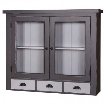 Meuble Haut de cuisine avec 2 portes vitrées et 3 tiroirs